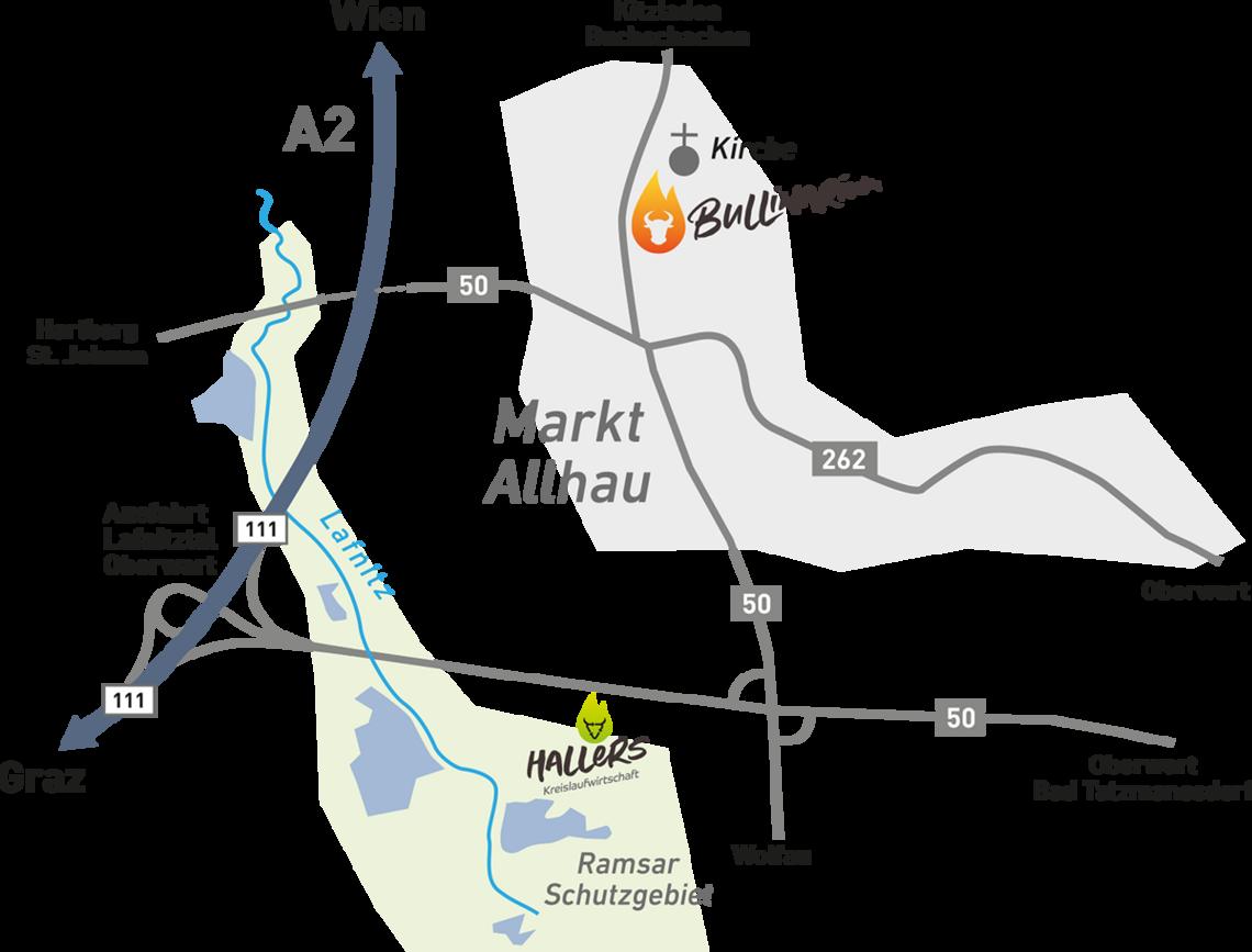 Das Ramsar Gebiet - Anfahrtsskizze