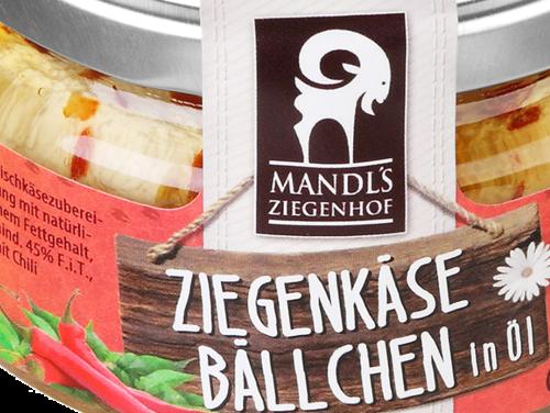 Mandl's Bio-Ziegenkäsebällchen Sonnenparadeiser 250g