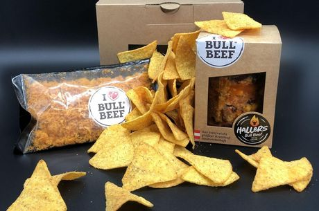 Nachos mit Chili con Bull Beef in the Box
